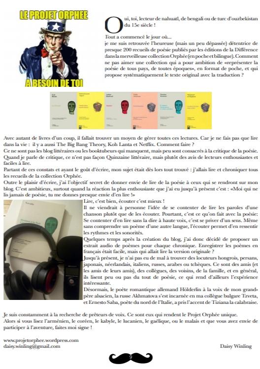 Projet Orphee ds journal Pied de la lettre AmLet avril 2016