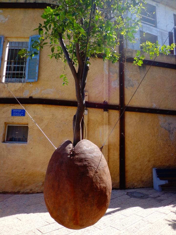 Cela fait longtemps qu'il n'y plus d'orangers à Jaffa, hormis celui-ci, déraciné, symbole du passé par l'artiste Ran Morin