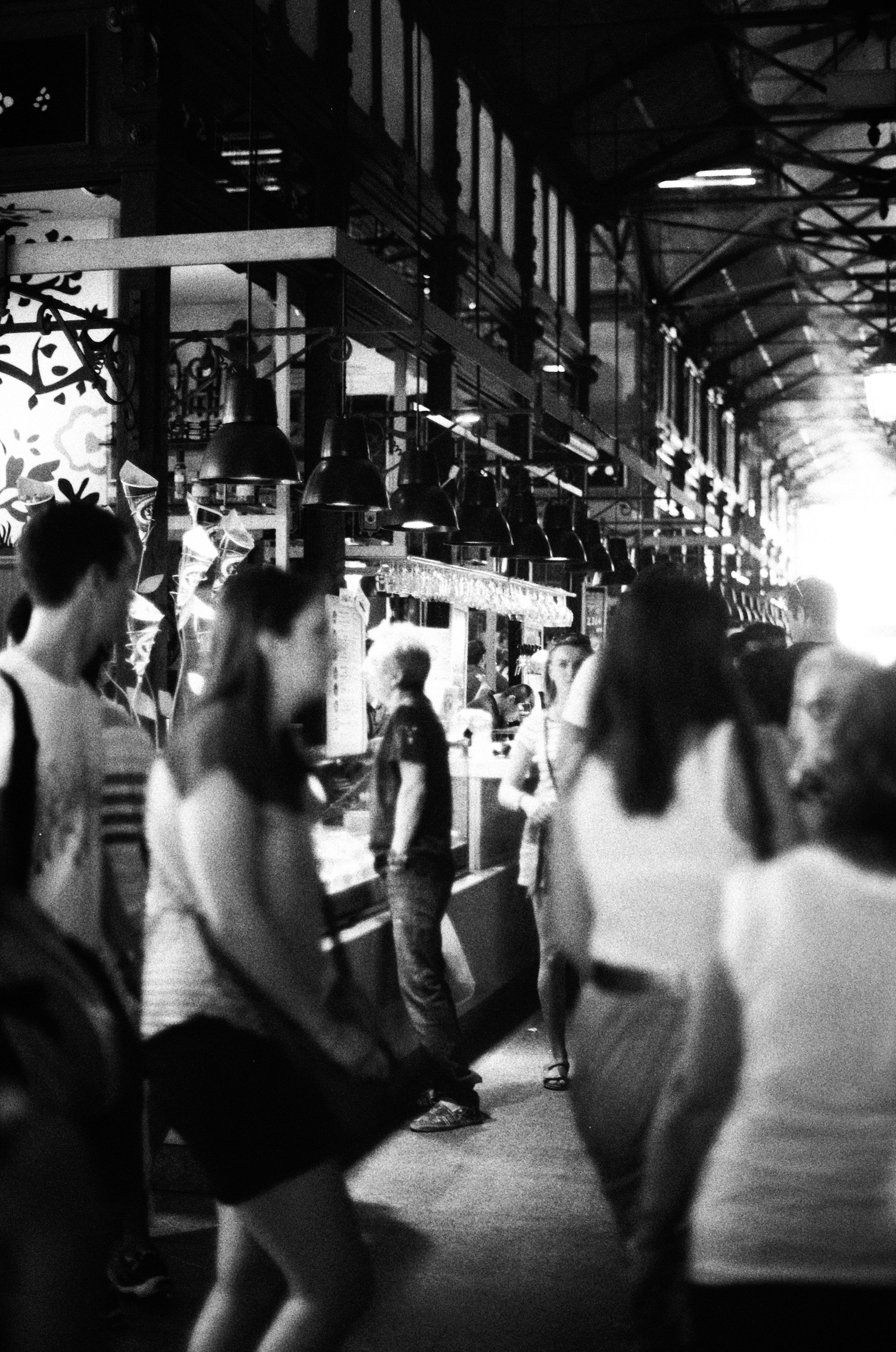 marché madrid noir et blanc